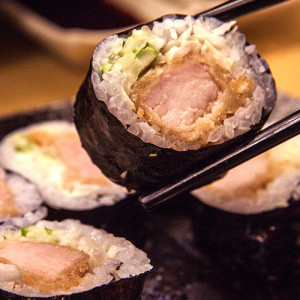 Pork Chop Sushi with Peanut Butter