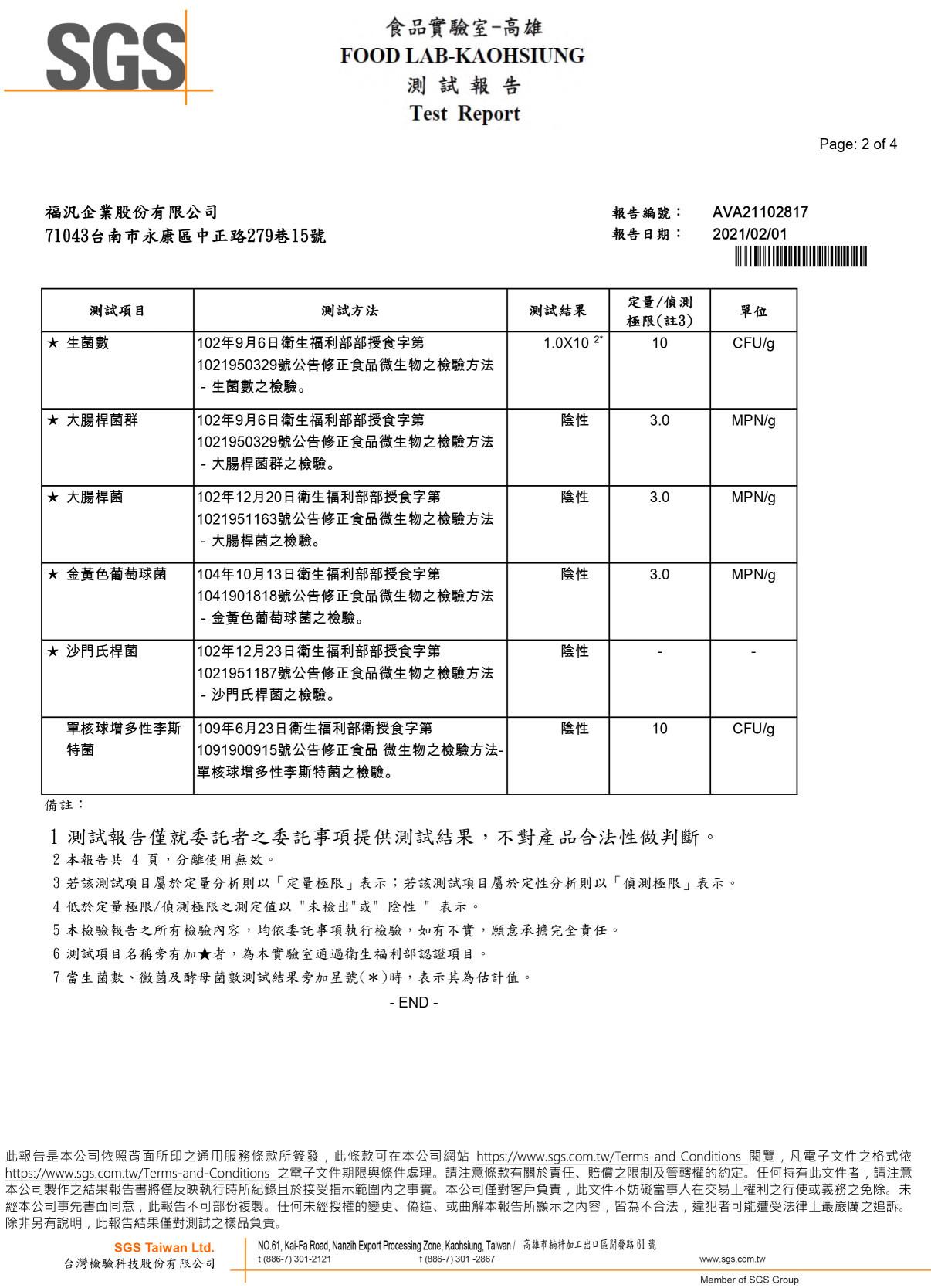 福汎花生醬 檢驗報告