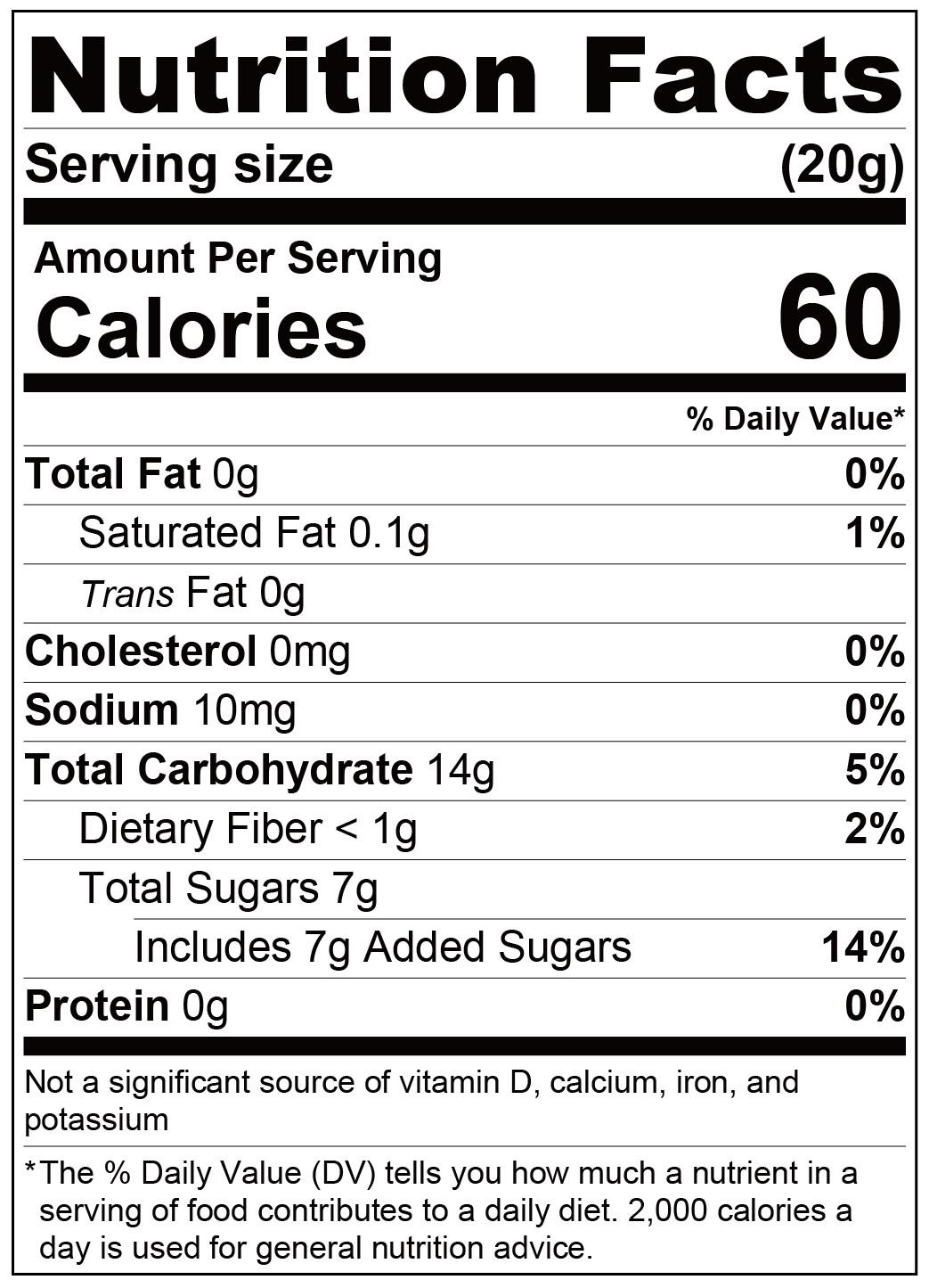 fufann chocolate syrup-Nutrition