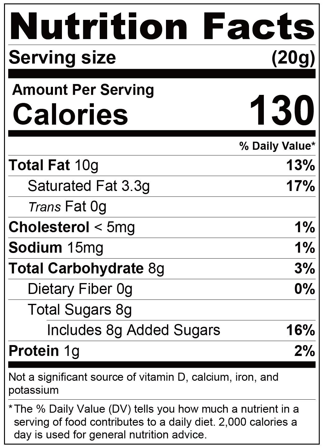 fufann custard paste-Nutrition